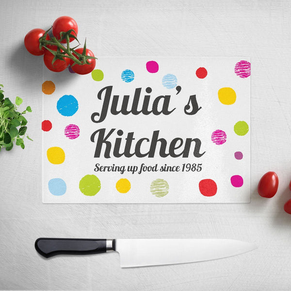 Personalised Message Spotty Glass  Chopping Board