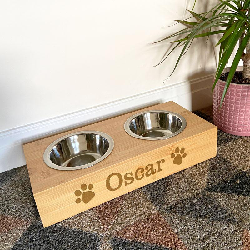 Personalised Pet Bowl Bamboo Water and Food Pet Bowl Always Personal
