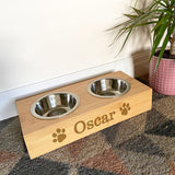 Personalised Pet Bowl Bamboo Water and Food - Single or Double Option