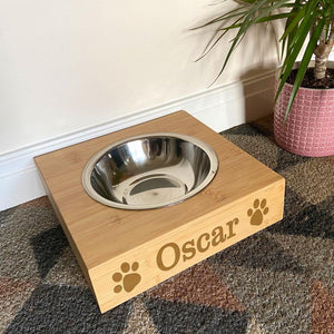 Personalised Dog Bowl Bamboo and Stainless Steel