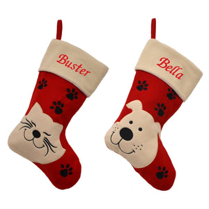 2 personalised pet Christmas stocking, one with a dog on and one with a cat. The main section of the stocking is in red felt and the top, heal and toe are in cream felt. The pet names are embroidered in red on the tops of the stockings.