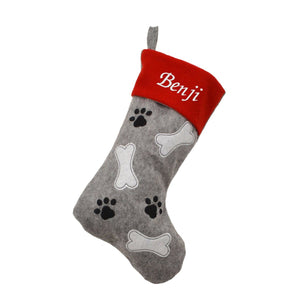 Personalised Embroidered Grey Felt Pet Christmas Stocking