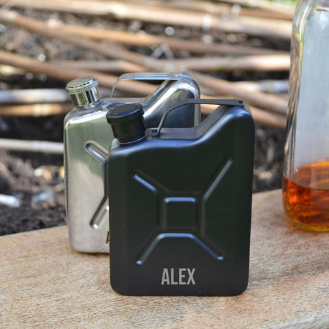 Jerry can personalised hip flask