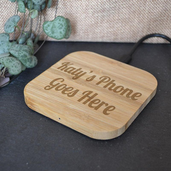 Personalised Bamboo Wireless Phone Charging Pad