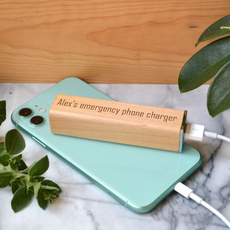 Personalised Engraved Wooden Powerbank Phone Charger Any Message