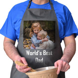 A personalised grey photo apron