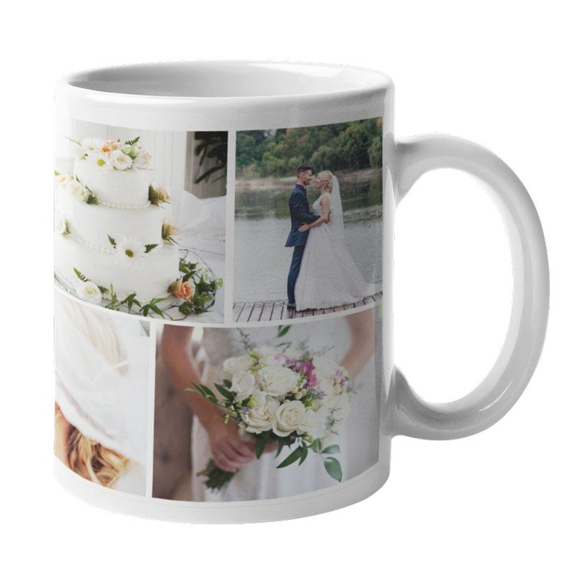 A personalised white photo collage mug showing pictures of a wedding