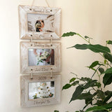 Personalised Hanging 3 Tier White Wash Photo Frame