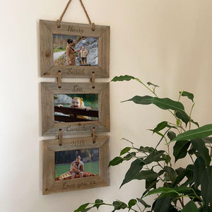 Personalised Hanging 3 Tier Rustic Wooden Photo Frame