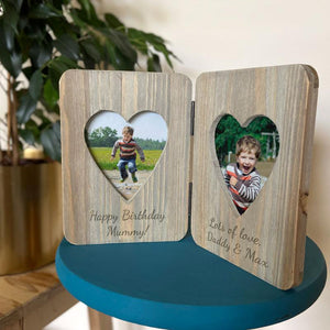 Personalised Double Photo Free Standing Wooden Photo Frame