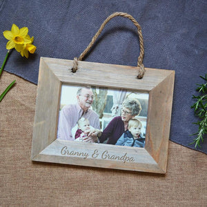 Personalised Rustic Photo Frame with Photo Printing and Engraved Message