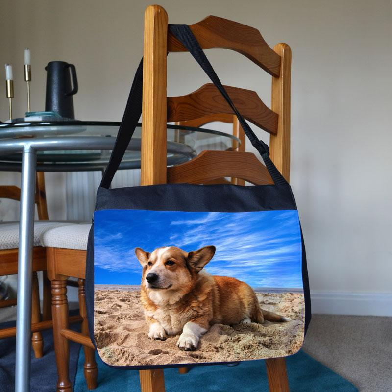 A personalised photo messenger bag