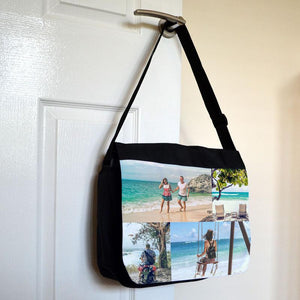 A personalised photo side strap bag with holiday photos printed on the flap.