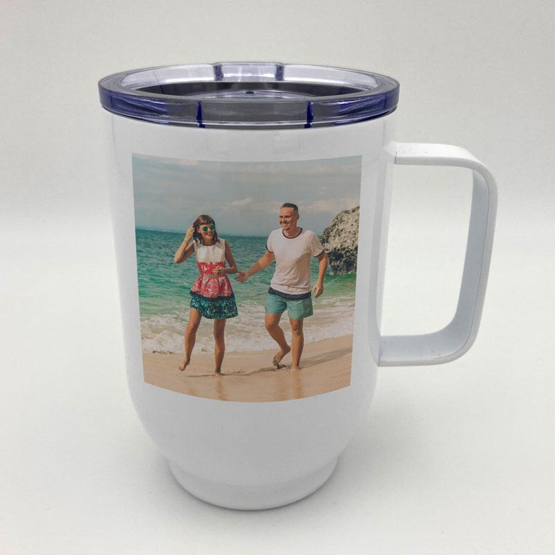 Personalised Photo Upload Travel Coffee Cup White Metal 17oz/500ml