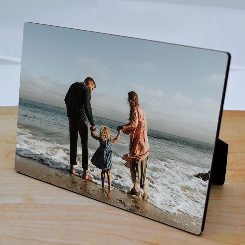 Personalised photo easel printed with a family photo