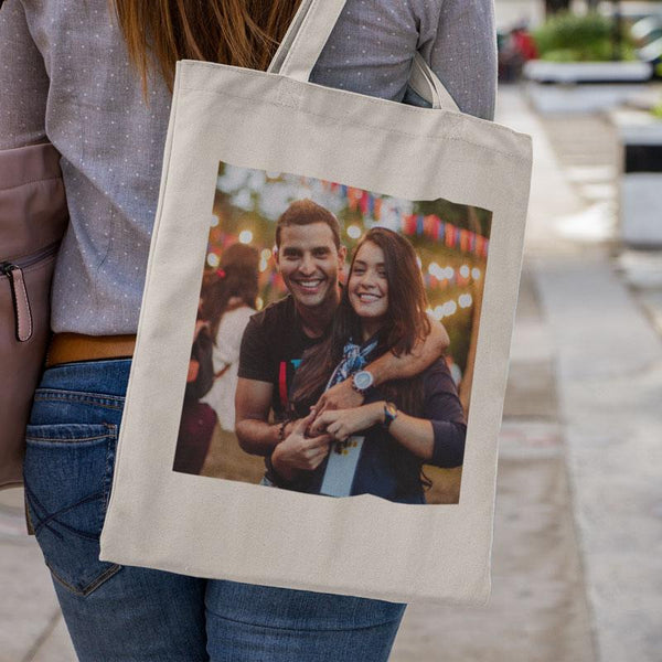 A personalised canvas tote bag printed with a photo