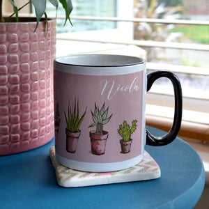 Personalised Pink and Black Mug with House Plant Print