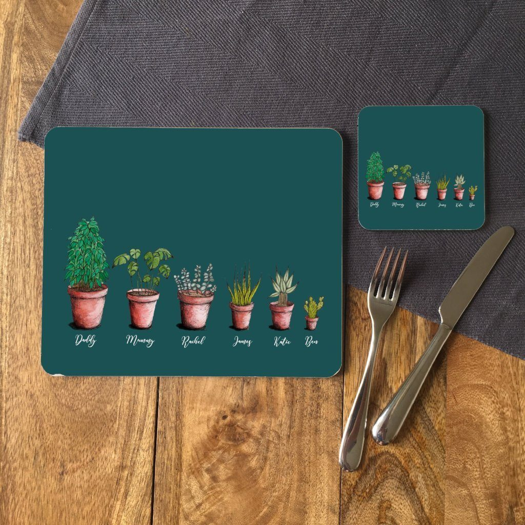A personalised rectangular placemat and a personalised square coaster. Both are printed with a design with 6 house plants above 6 names. The house plants start off big on the left and get smaller towards the right.
