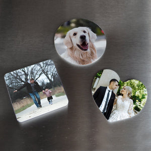 Personalised Photo Plastic Fridge Magnet Round Heart Square