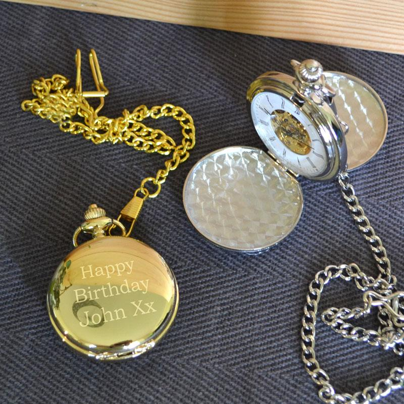Personalised Engraved Pocket Watch Silver or Gold