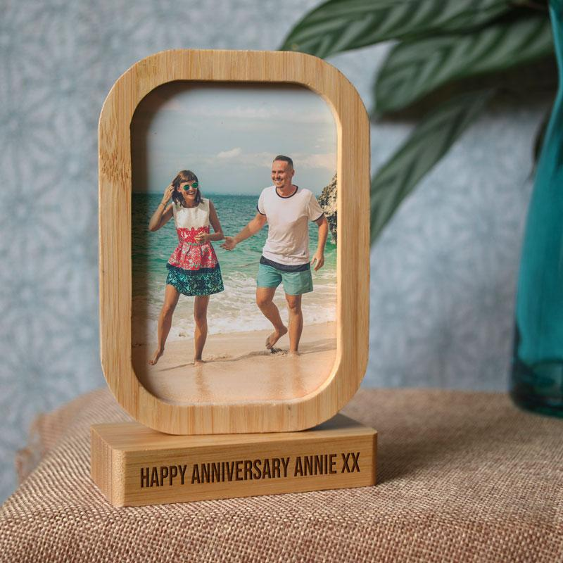 Personalised Rectangle Photo Frame Eco Friendly Bamboo Double Sided