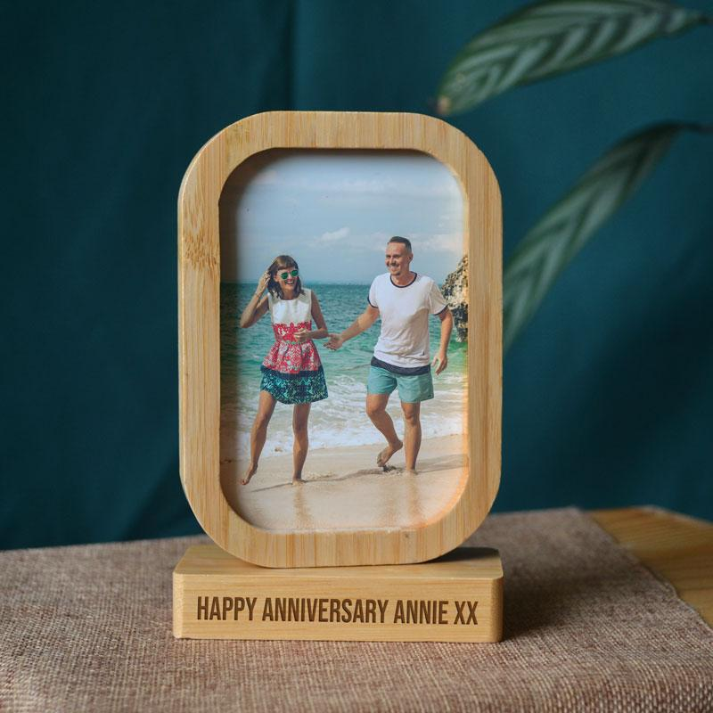 Personalised Rectangle Photo Frame Eco Friendly Bamboo Double Sided Photo Frame Always Personal