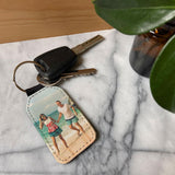 Personalised Photo Leather Look Keyring Single Sided Image