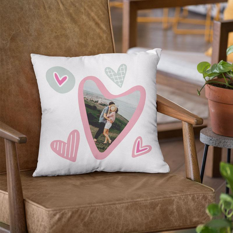 Personalised Romantic Heart Photo Cushion