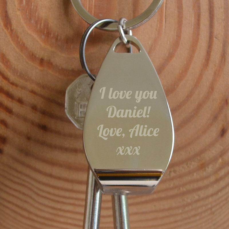 A personalised engraved metal bottle opener keyring