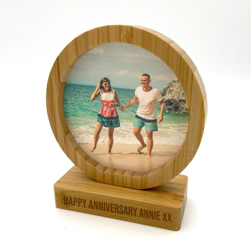 Personalised Bamboo Photo Frame Engraved Double Sided Round