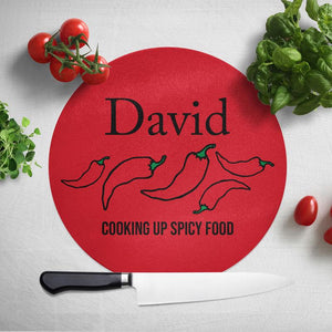 Personalised Red Chopping Board Spicy Food