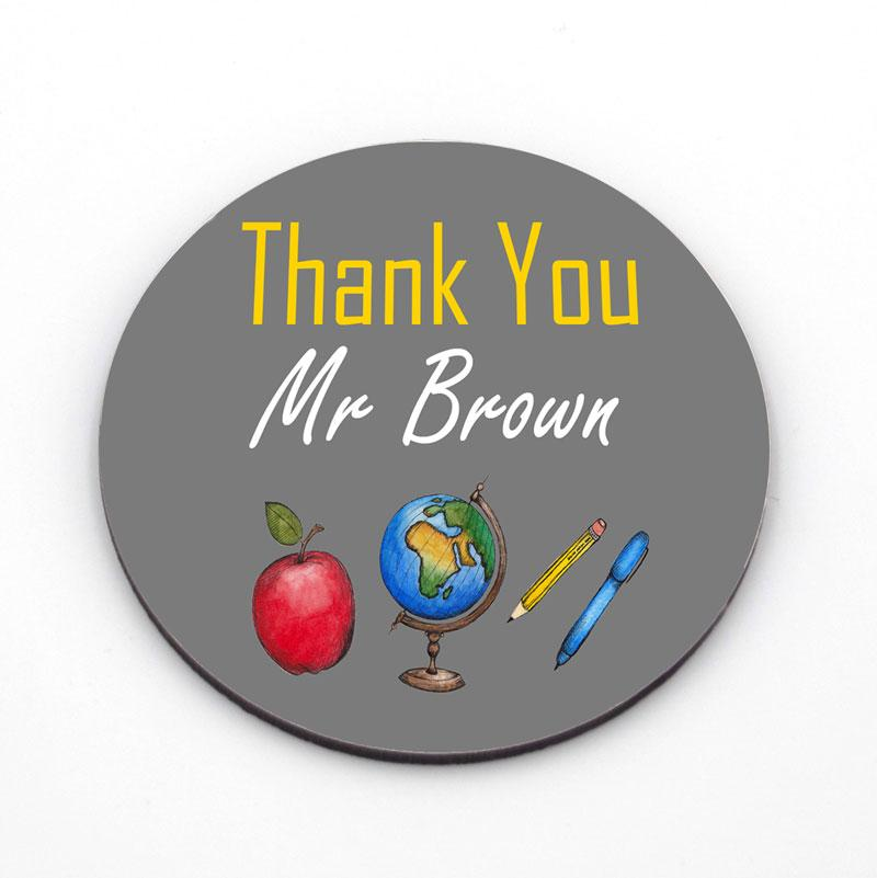 Personalised Round Coaster With Coloured Teacher Icons