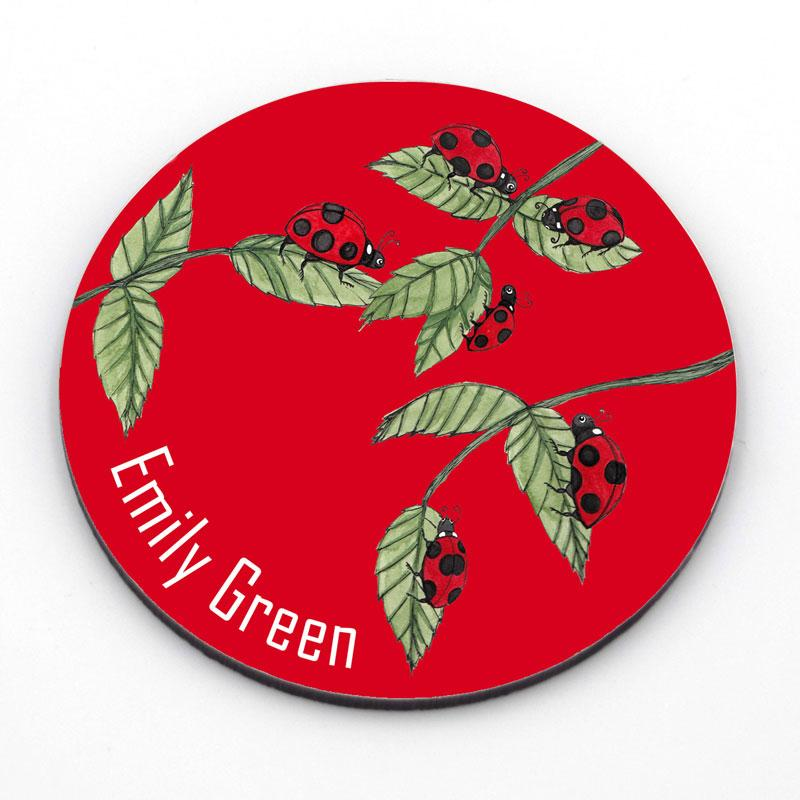 Personalised Ladybird Circle Coaster