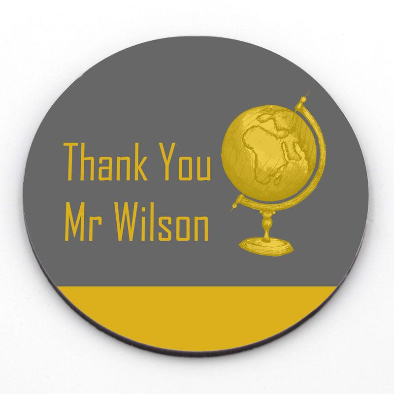 "Personalised ""Thank You"" Round Coaster in Yellow and Grey"