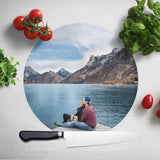 Personalised Circle Photo Glass Chopping Board Chopping Board Always Personal