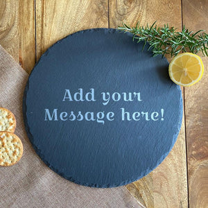 Personalised Engraved Round Slate Placemat Message