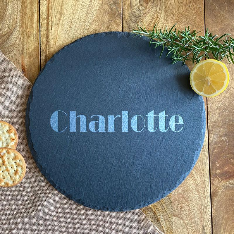 Personalised Engraved Round Slate Name Placemat