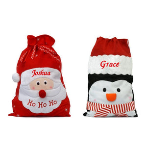 Personalised Embroidered Luxury Christmas Sack Santa or Penguin