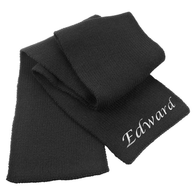 An embroidered black chunky knit scarf