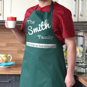 Personalised family kitchen apron in bottle green