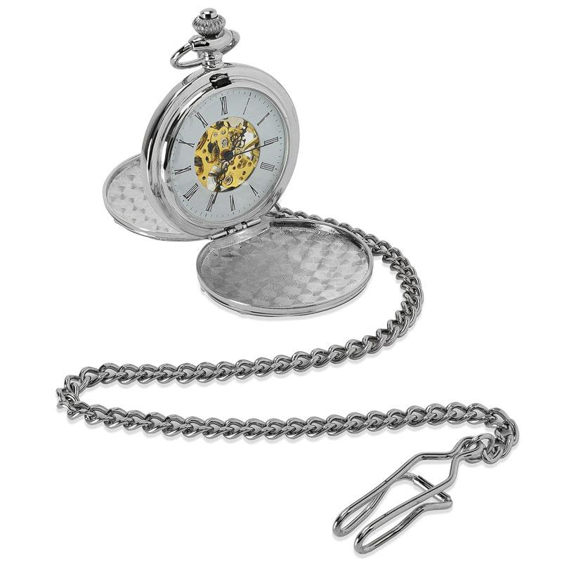 Personalised engraved silver pocket watch with a visible mechanical movement.