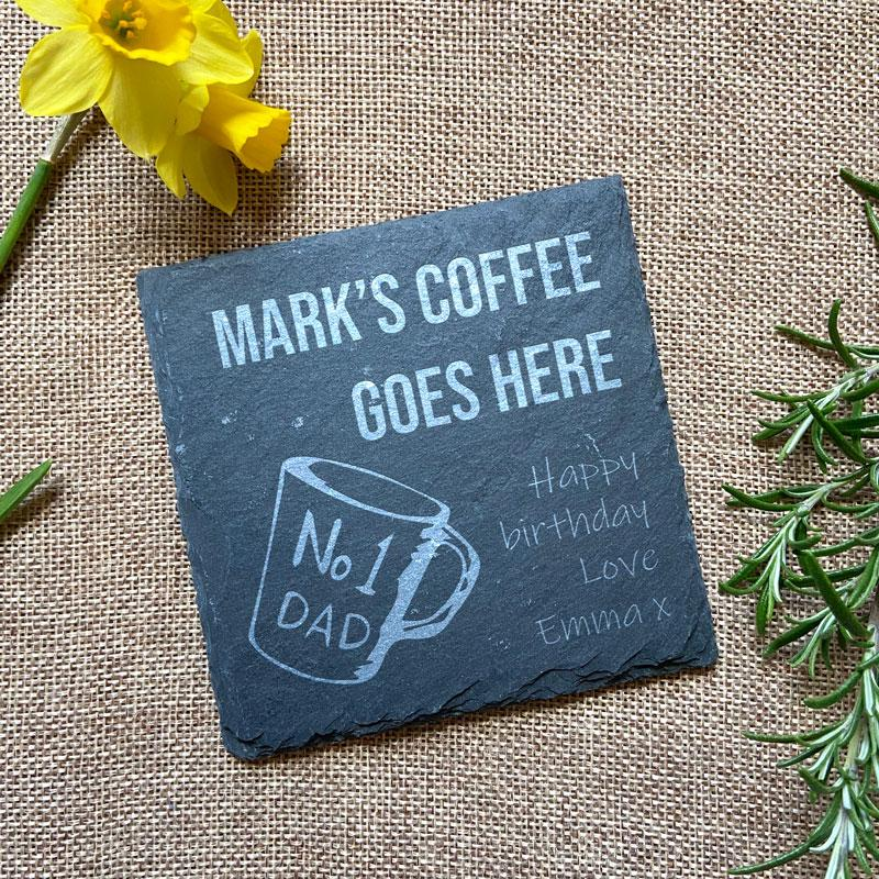 Personalised Engraved Slate Coaster Dad's Coffee
