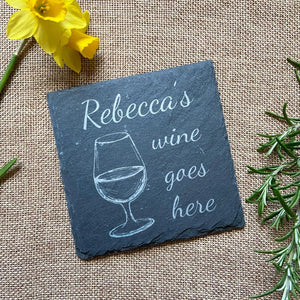 Personalised Engraved Slate Wine Coaster