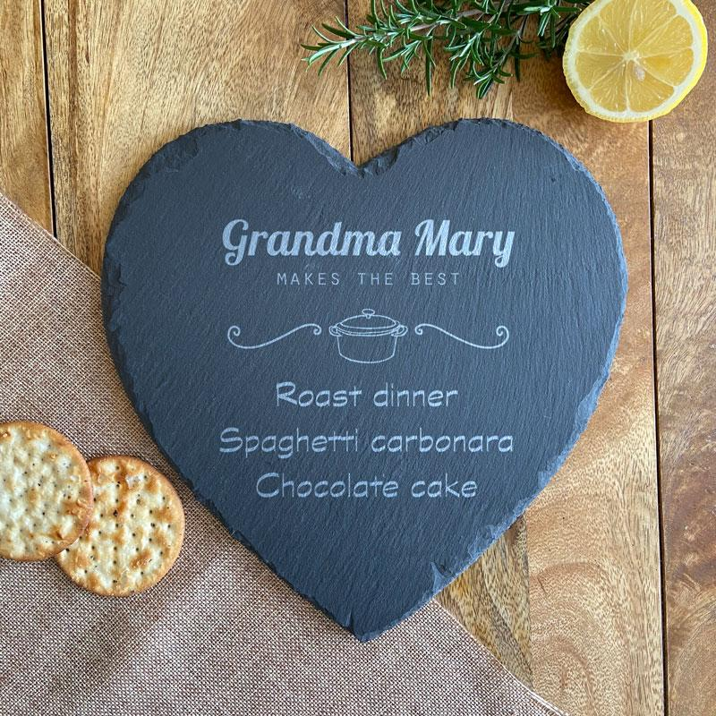 Personalised Slate Placemat Heart Makes Best Food