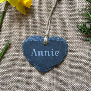 Personalised Engraved Slate Heart Shaped Tag