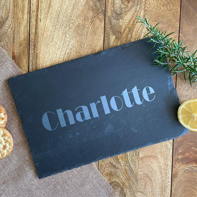 Personalised Slate Placemat Engraved Name Rectangle