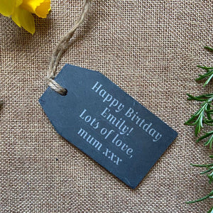 Personalised Engraved Slate Gift Tag