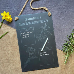 Personalised Slate Gardening Notice Board