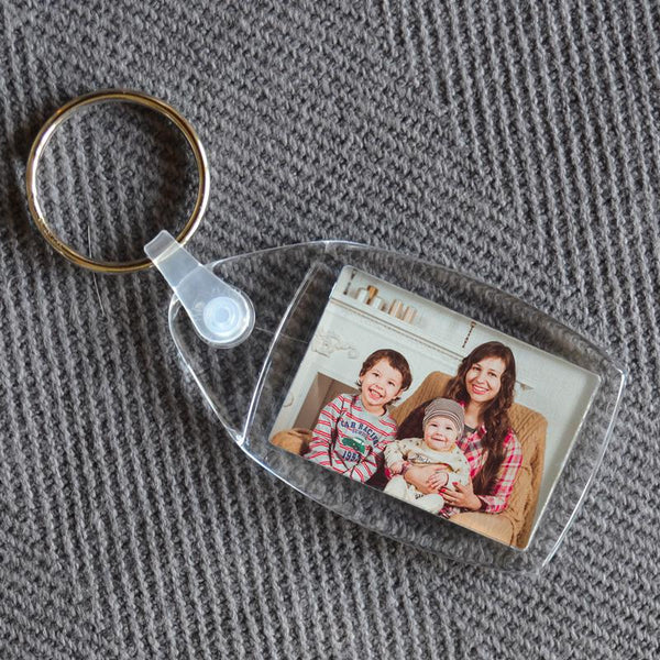 A small plastic photo keyring with a family photo inside.