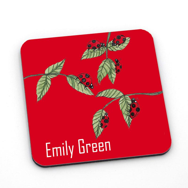 Personalised red coaster with a ladybird pattern